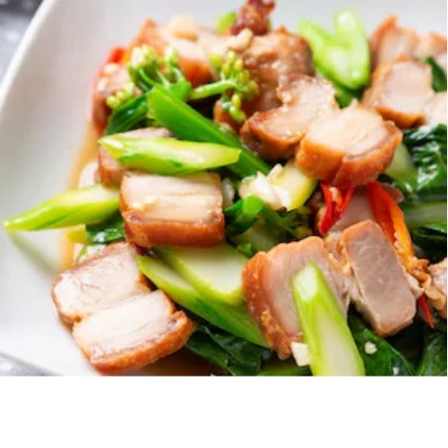 Spring Greens with Crispy Pork